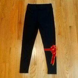 NEW Lularoe OS Black Leggings Red Bow